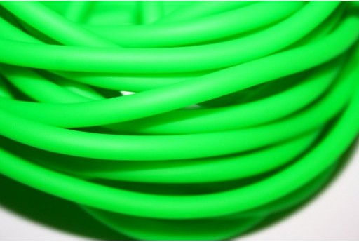 Hollow Rubber Cord Neon Green 5mm - 1m