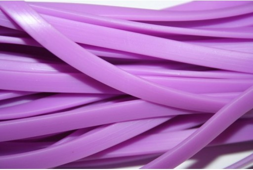 Flat Rubber Cord Opaque Violet 6x2mm - 1m