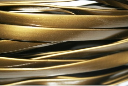 Flat Rubber Cord Bronze 10mm - 1m