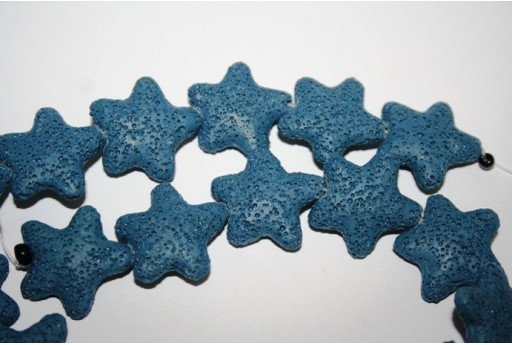 Lava Rock Beads Blue Star 25mm - 18pz