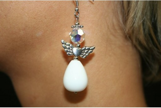White Jade Angels with Teardrops - Earrings Kit