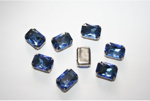 Perline Strass da Cucire Blue 14x10mm - 2pz