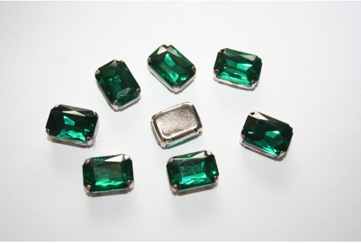 Perline Strass da Cucire Verde 14x10mm - 2pz