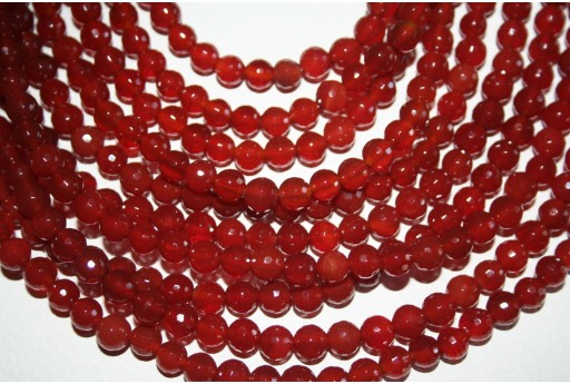 Cornelian Beads Faceted Sphere 128 Faces 6mm - 8pz
