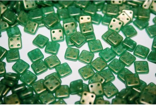 Perline Quadra Tile Sueded Gold Atlantis Green 6mm - 5gr