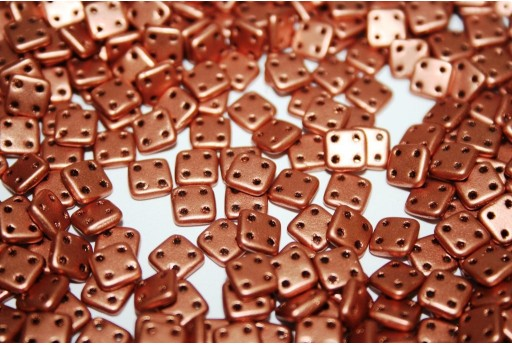 QuadraTile Beads Matte Metallic Copper 6mm - 5gr