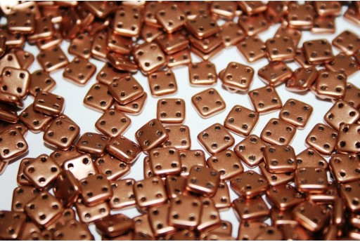 QuadraTile Beads Matte Metallic Bronze Copper 6mm - 5gr