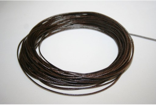 Dark Brown Waxed Polyester Cord 0,5mm - 12mt