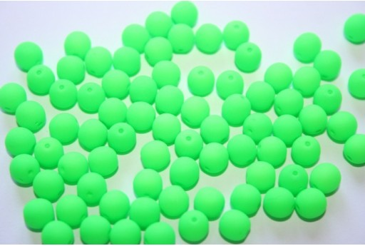 Neon Glass Beads Green 6mm - 50pz