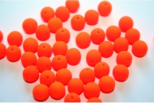 Perline Vetro Cerato Neon Orange 8mm - 30pz