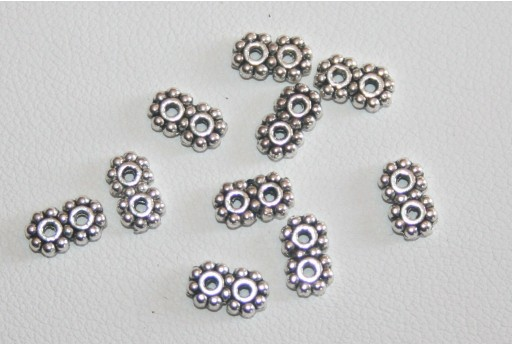 Tibetan Silver 2-Holes Spacer Beads 4x7,2mm - 30pcs