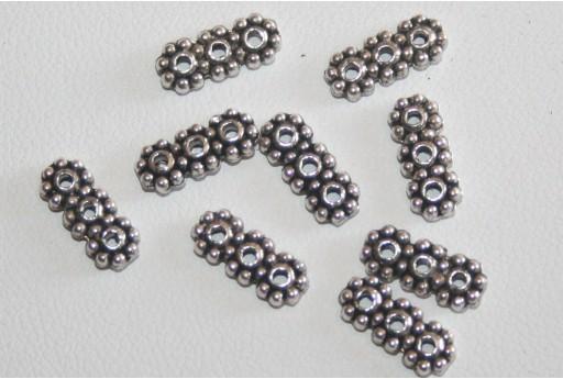 10 Barre 3 Fori Argento Tibetano 4,3x10,5mm TIB17