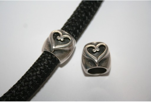 Climbing Silver Heart Spacer Charm Bead - 1pc