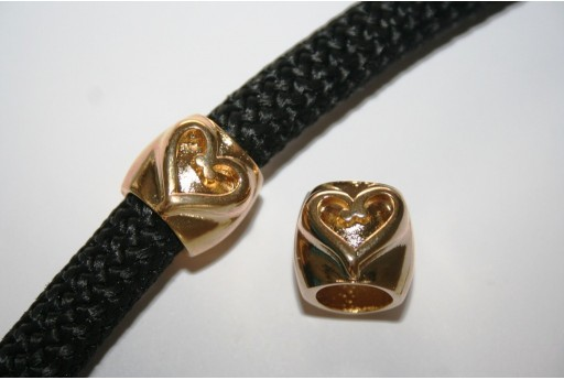 Climbing Gold Heart Spacer Charm Bead - 1pc