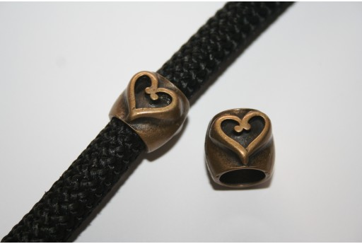 Climbing Bronze Heart Spacer Charm Bead - 1pc