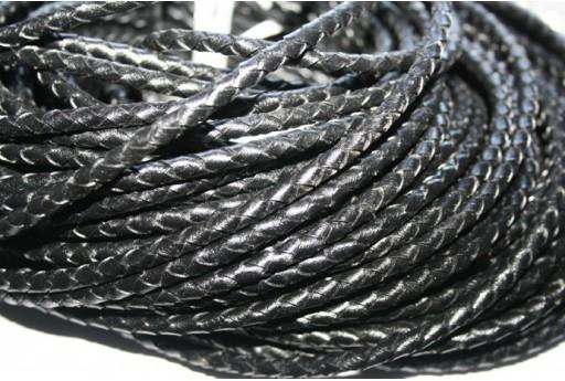 Filo di Cuoio Intrecciato Nero 5mm - 20cm