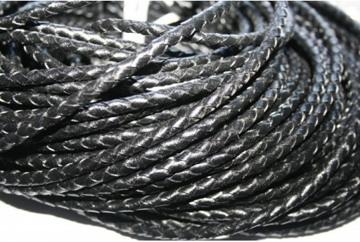 Leather Braided Cord 5mm Black - 20cm