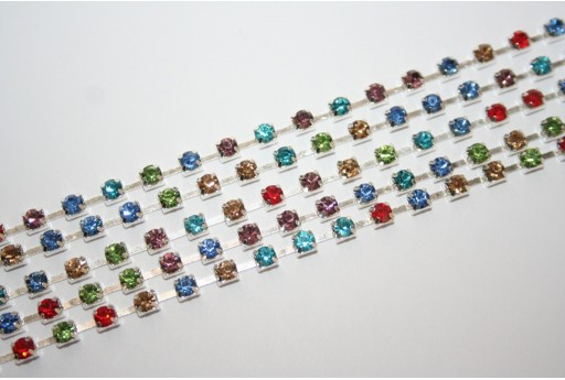Catena Strass Multicolor/Argento SS16 4mm - 50cm
