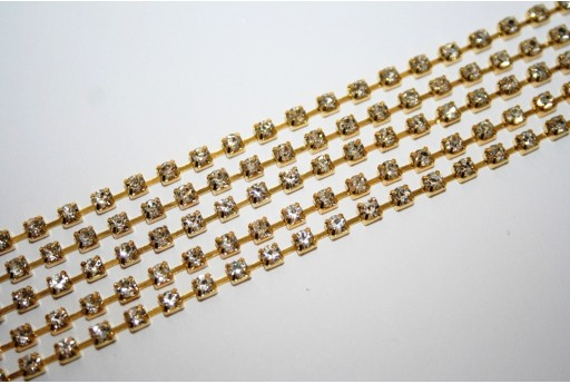 Catena Strass Crystal/Oro SS12 3mm - 50cm