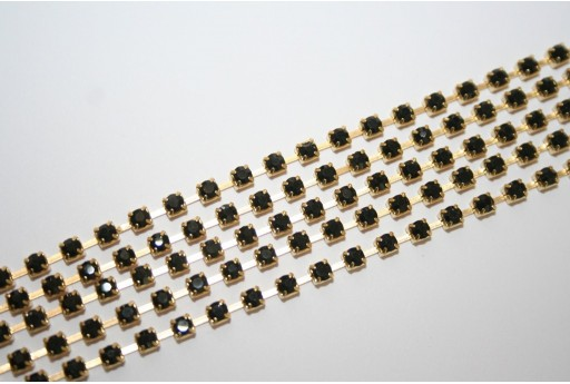 Rhinestone Cup Chain SS12, 3mm Black/Gold 50cm., CAT30Q