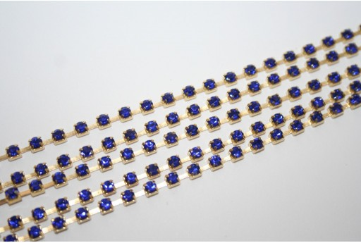 Rhinestone Cup Chain SS12, 3mm Blue/Gold 50cm., CAT30R