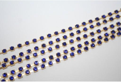 Rhinestone Cup Chain SS12, 3mm Blue/Gold 50cm., CAT30R