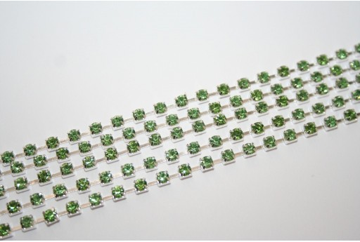 Rhinestone Cup Chain SS12, 3mm Green/Silver 50cm., CAT30S