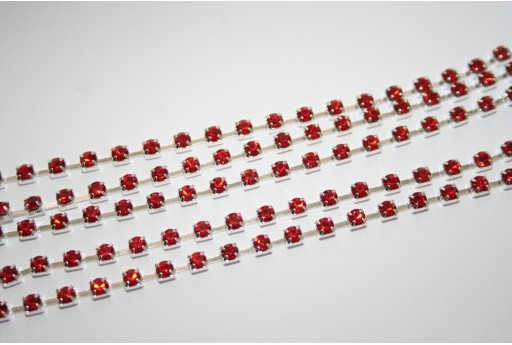 Rhinestone Cup Chain SS12, 3mm Red/Silver 50cm., CAT30T