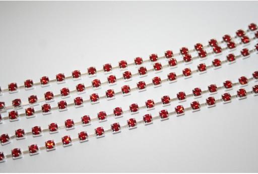 Catena Strass Rosso - Argento SS12 3mm - 50cm