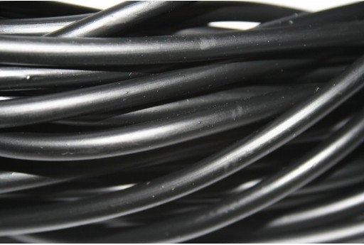 Hollow Rubber Cord Black 5mm - 1m