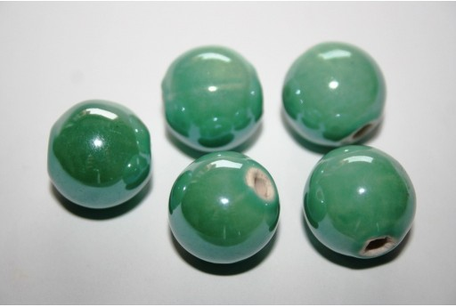 Perline Ceramica Colore Verde Acqua Tondo 16mm - 3pz