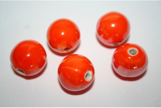 Ceramic Beads Round Orange 16mm - 3pz