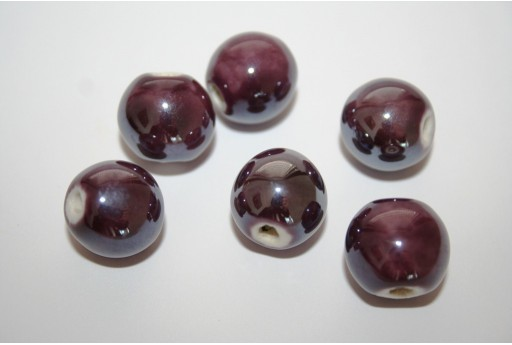 Perline Ceramica Colore Viola Scuro Tondo 14mm - 4pz
