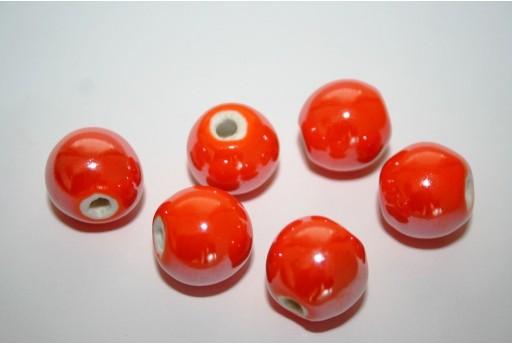 Perline Ceramica Colore Arancio Tondo 14mm - 4pz