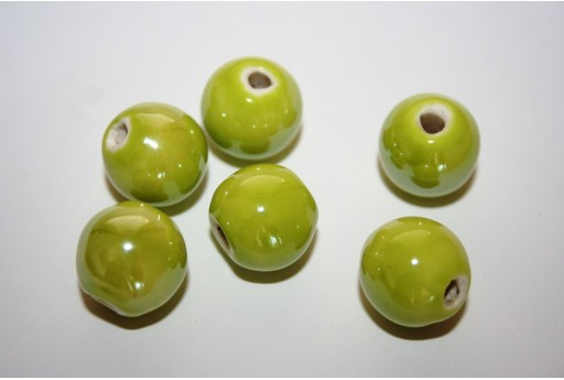 Ceramic Beads Round Light Green 14mm - 4pz