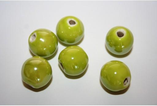 Perline di Ceramica Verde Chiaro Tondo 14mm - 4pz