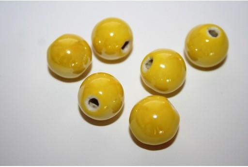 Ceramic Beads Round Yellow 14mm - 4pz