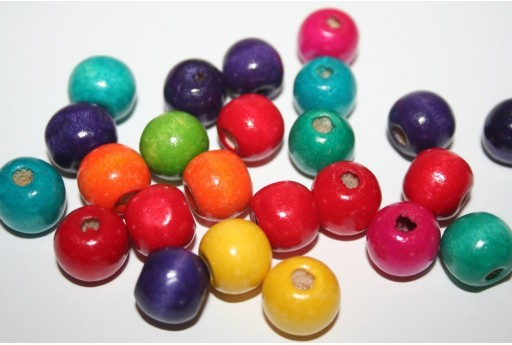 Wood Beads Round Mix Color 12mm - 40pz
