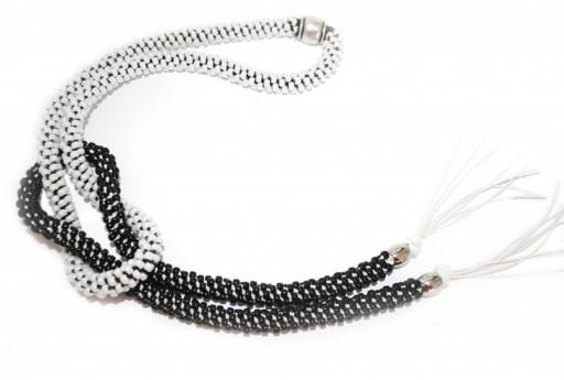 Black/White Kumihimo Knottable Necklace Kit