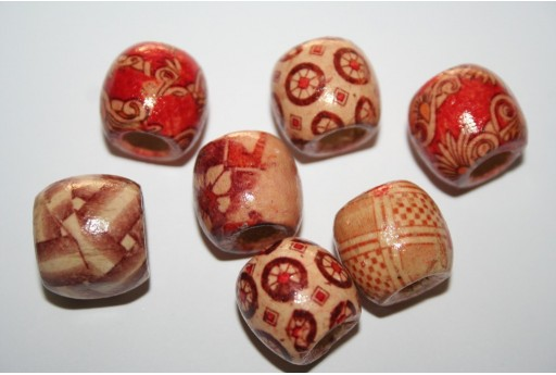 Wood Beads Round Fantasy 16mm - 16pz