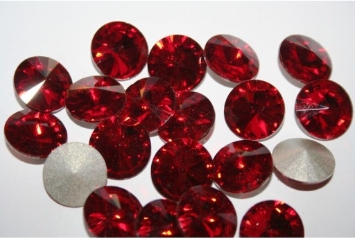 Glass Cabochon Crystal Round Red 16mm - 4pz