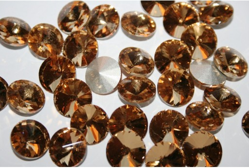 Glass Cabochon Crystal Round Light Brown 14mm - 4pz