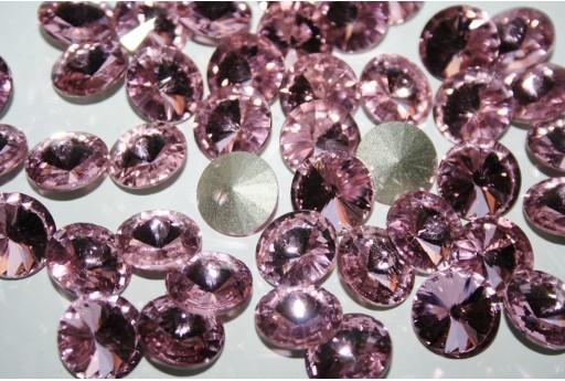 Cabochon Tondo Cristallo Rosa Chiaro 14mm - 4pz