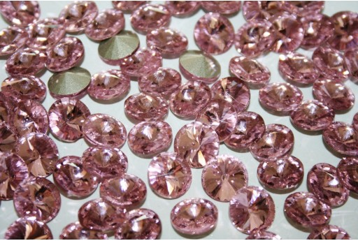 Glass Cabochon Crystal Round Light Rose 12mm - 4pz