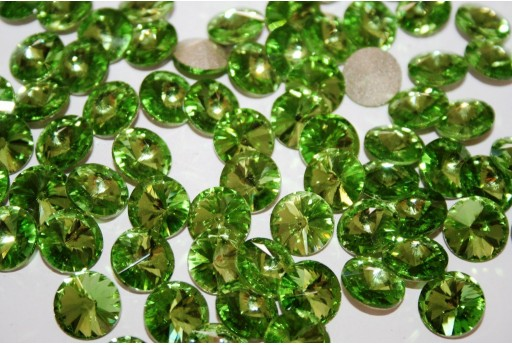 Glass Cabochon Crystal Round Light Green 12mm - 4pz