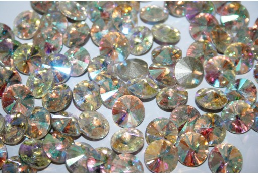 Glass Cabochon Crystal Round Crystal AB 12mm - 4pz