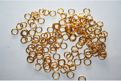 Gold Plated Steel Jump Rings 4x0,6mm - 10pcs