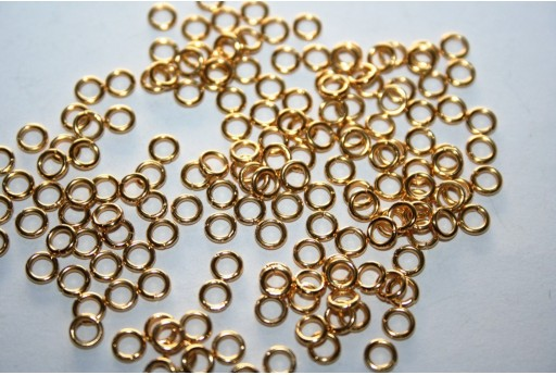 Gold Plated Steel Jump Rings 4x0,8mm - 10pcs
