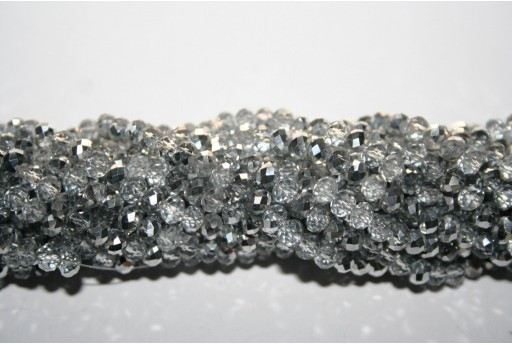 Chinese Crystal Beads Faceted Rondelle Crystal/Silver 4x3mm - 150pz