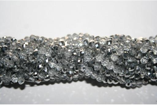 Perline Vetro Rondella Sfaccettata Crystal/Argento 4x3mm - 150pz